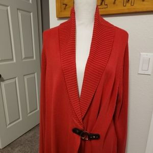 Plus Size Red Sweater with Brown and Gold Belt